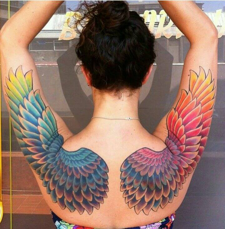 Angel Wings Colorful Tattoo