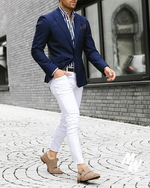 what to wear with white jeans men